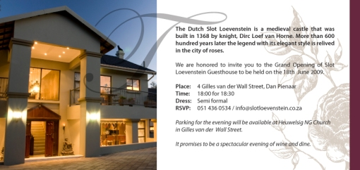 Invite to Opening of Slot Loevenstein GuestHouse