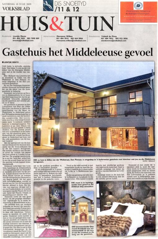 HuisenTuin:Volksblad - 18 July 09